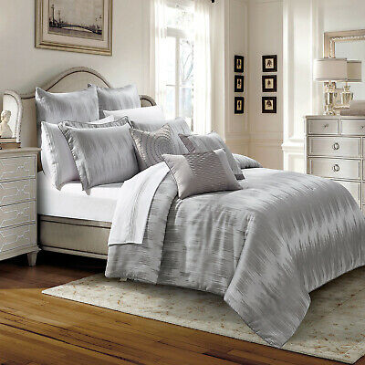 Grey 3 Piece Quilted Bedspread Comforter Set Throw With Pillow Shams Double King