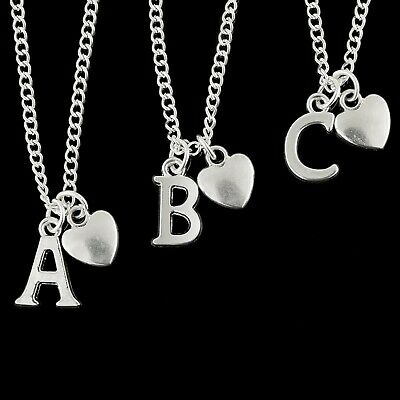"Personalised Necklace Silver Plated Initial Letter Heart 18"" A to Z - Adjustable"