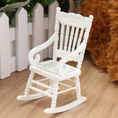 1:12 Dollhouse Miniature Furniture White Wooden Rocking Chair Gift Toy Kid