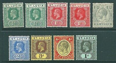 ST LUCIA George V mint stamp collection including shades to 1/-