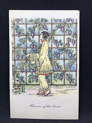 Vintage Art Deco Postcard FLOWERS OF THE EAST by C.E Shand, British Art Co 1930s