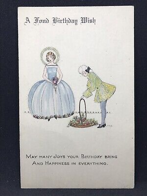 Vintage Art Deco Postcard BIRTHDAY WISH by C.E. Shand, National Series 1930s