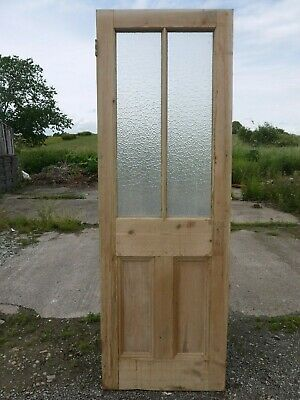 GL01c (25 1/2 x 75 1/4) Old Victorian Period Glazed Pine Door with Mottled Glass