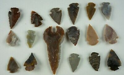 """17 PC Flint Arrowhead Ohio Collection Points 1-3"""" Spear Bow Stone Hunting 1542"""