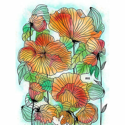 Colourful Patterned Poppy Flower Painting XL Wall Art Canvas Print