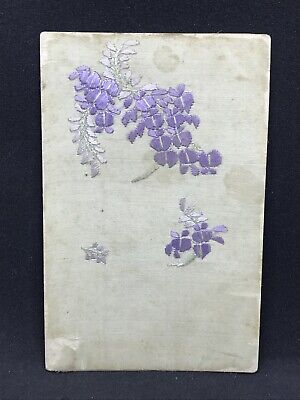 Antique Postcard with Embroidered Purple Silk Flowers, Very Delicate