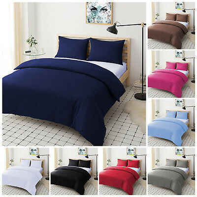 Plain Duvet Quilt Cover With Pillow Cases TC200 Bedding Set Single Double King