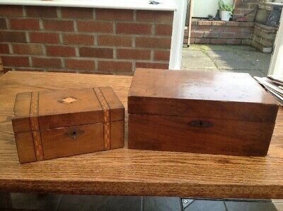 2 Antique Victorian Trinket/Jewellery/workboxes/Repair /Refurb. 1 Tunbridge Ware
