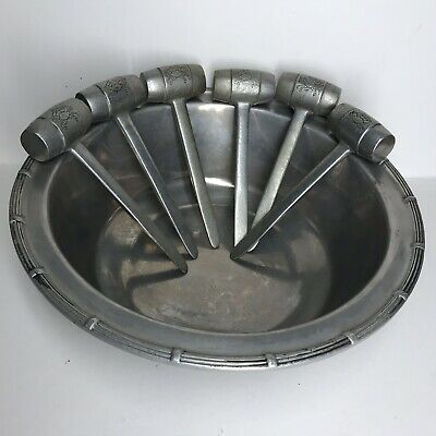 VINTAGE Wilton Armetale Pewter Large Crab Seafood Bowl With 6 Six Mallets (1973)