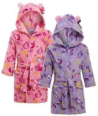 Peppa Pig Girls 3D Fleece Hooded Dressing Gown Kids Novelty Character Bath Robe