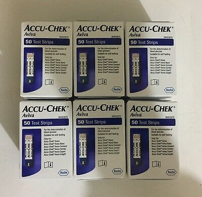 Accu-chek Aviva test strips 50 X 6 Boxes ( All together 300 Strips ) Exp-12/2019