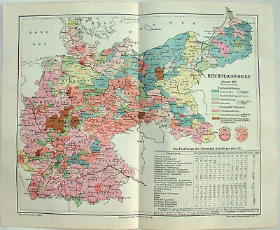 Original German Map of the 1912 Reichstag Election by Meyers. Antique