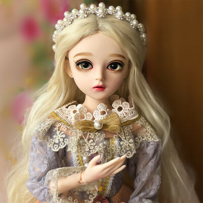 60cm BJD Doll 1/3 Fashion Girls Toy Eyes Face Makeup Wig Clothes Dolls Whole Set