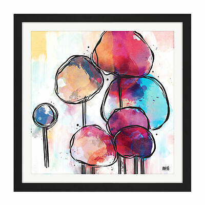 Abstract Alien Tree Design Colourful Painting Square Framed Wall Art 16X16""