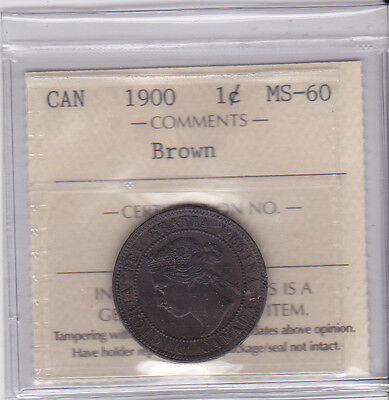 Canada 1900 1 cent ICCS MS-60 Brown