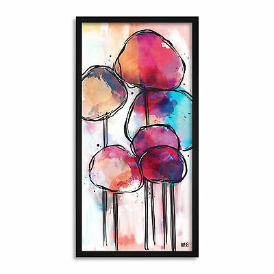 Abstract Alien Tree Design Colourful Painting Long Framed Wall Art 25X12 In