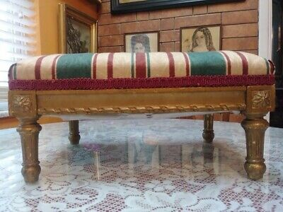 Antique Louis XV Style Carved Wood Footstool