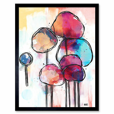 Abstract Alien Tree Design Colourful Painting Wall Art Print Framed 12x16""