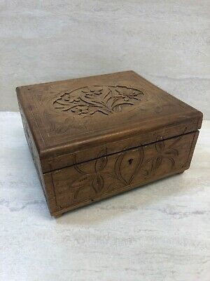 "Vintage Floral Carved Wooden Jewelry Trinket Hinged Box w Lid 7.25""x6.25""x3.25"""
