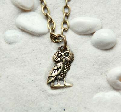 Wise Owl Midnight Owl Bird Necklace : Bronze pendant with chain
