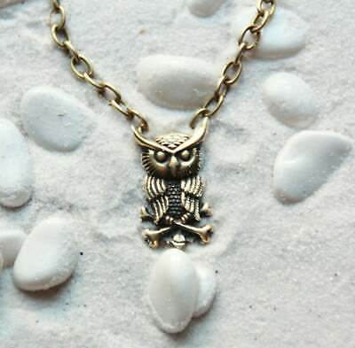 Eagle-Owl Midnight Owl Jewelry Bird Necklace : Bronze pendant with chain