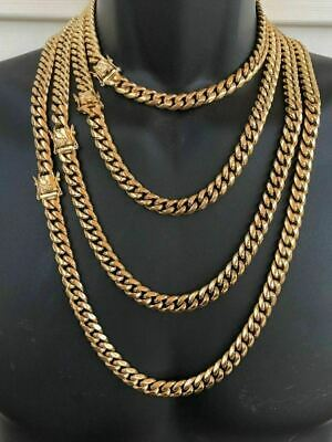 "HARLEMBLING 10mm Mens Miami Cuban Link Chain 14k Gold Plated HEAVY 18""-30"""