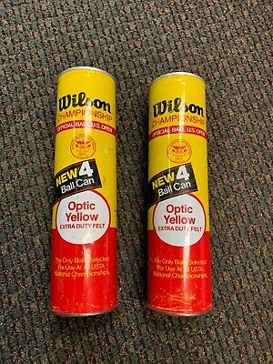 Lot Of 2 Vintage Wilson Tennis Ball Metal Tin Cans, Made In USA