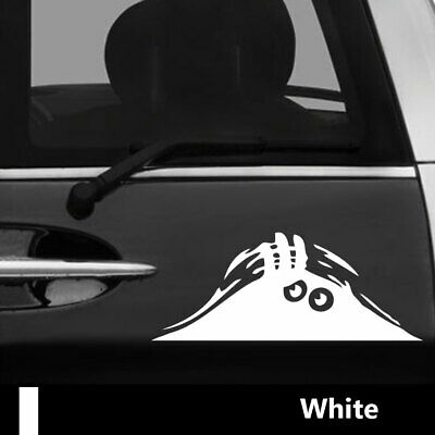 Peeking Monster Funny Vinyl Decal Sticker Car 4x4 Window Bumper White