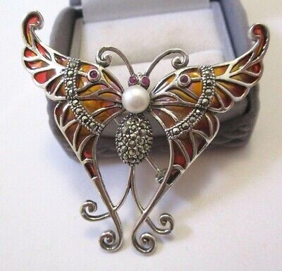 Large Silver Plique a Jour Swallow Tail Butterfly Marcasite Brooch Pendant