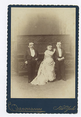 Eisenmann Cabinet Card Photo Midgets: Count Rosebud, Lavinia Warren, Baron Magri