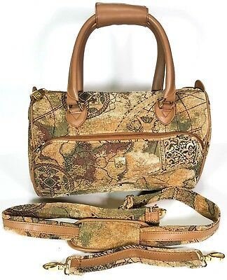 Pegasus USA Shoulder Bag Carry On Luggage Canvas Tapestry Leather Travel NWOT