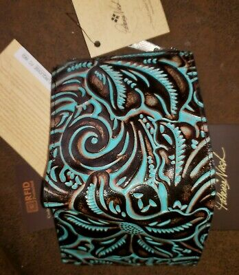 Patricia Nash Taverna Turquoise Tooled Leather ID Coins RFID Wallet NWT -RARE!!!