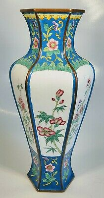 Antique 1920s Chinese Hand-Painted Various Flowers Enamel on Bronze Hexagon Vase