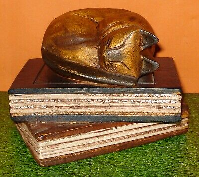 Carved Wood SLEEPING CAT ON BOOKS Ornament - Paperweight