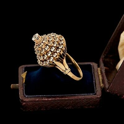 Antique Vintage Nouveau 10k Gold Russian Princess Ballerina Quartz Ring Sz 5.5