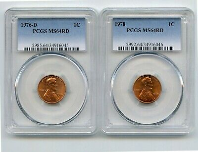 1976-D/1978 Lincoln Memorial Cents (MS64RD) PCGS 2 Coins