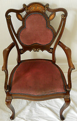 Antique Original Walnut Elbow Chair,Rose Coloured Upholstery,Beautiful Inlay.