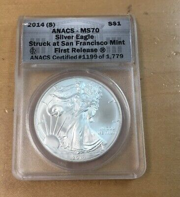 2014(S) $1 Am Silver Eagle ANACS MS70 1st Release (H64)