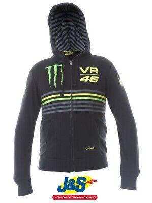 VR46 Monster Zip Hoodie Hoody Valentino Rossi Jumper Motorcycle Mens Black J&S