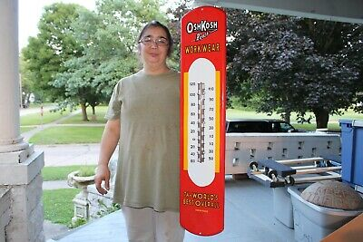 """Large Osh Kosh Blue Jeans Clothes Gas Oil 39"""" Porcelain Metal Thermometer Sign"""