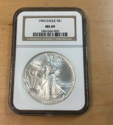 1993 American Silver Eagle NGC MS69 (H79)