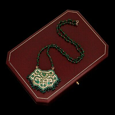 Antique Vintage Art Nouveau 10k Gold Mughal Colombian Emerald Wedding Necklace