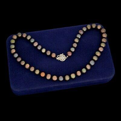Antique Vintage Deco Retro 14k Gold 10.5 mm Tahitian Pearl Beaded Bead Necklace
