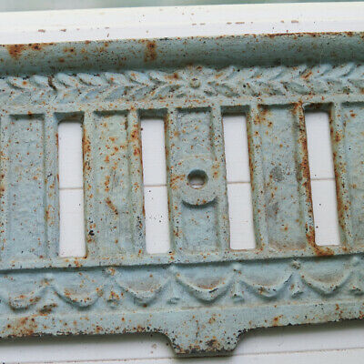 Old Vintage Antique Rusty Chippy Cast Iron Ornate Fireplace Fender Neo Classical