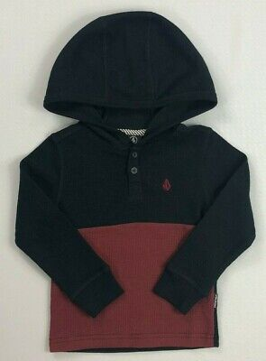 Boy's Toddler Volcom Hooded Henley Long Sleeve Murphy  Thermal Shirt Size 2T