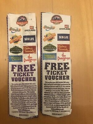 2 x Free Ticket Voucher Coupon Merlin Alton Towers Thorpe Park Legoland 2 for 1