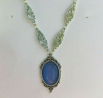 Victorian Style Light Blue Glass Oval Silver Plated Ornate Pendant Necklace