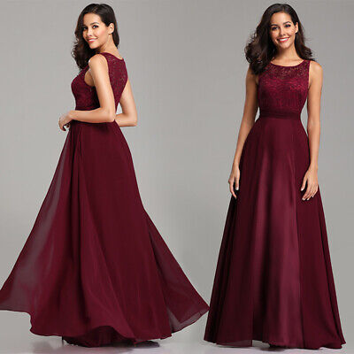 Ever-Pretty US Long Party Bridesmaid Dress Burgundy Chiffon Evening Gown 07695