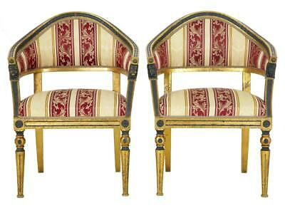 Pair Of 19Th Century Swedish Gilt And Ebonised Armchairs