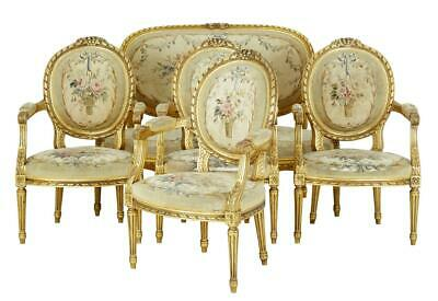 19Th Century 5 Piece Carved Wood And Gilt Salon Suite